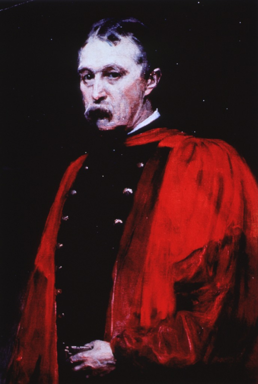 <p>Half-length, wearing red robe.</p>