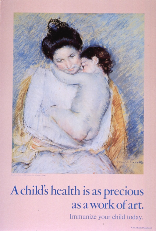 <p>Peach poster with blue lettering.  Visual image in upper portion of poster is a reproduction of Cassatt's &quot;Mother and Child.&quot;  Caption below image, title below caption.  Publisher information in lower right corner.</p>