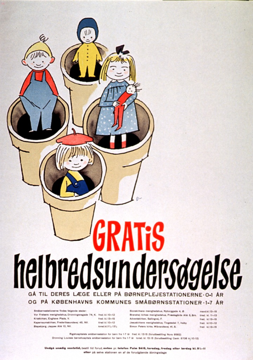 <p>Off white poster with red and black lettering.  Visual image is an illustration of four children standing in flower pots.  Title below illustration.  Additional text below title lists times and locations for physical examinations and urges calling ahead to avoid unnecessary waiting.</p>
