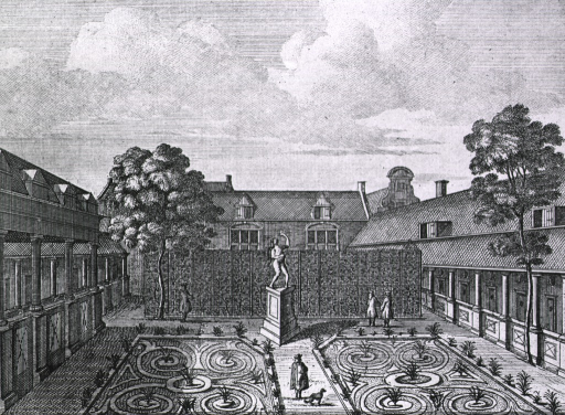 <p>View from an interior courtyard; people walking in gardens.  Captions in Latin and Dutch indicating founding in 1562, expansion in 1592.</p>