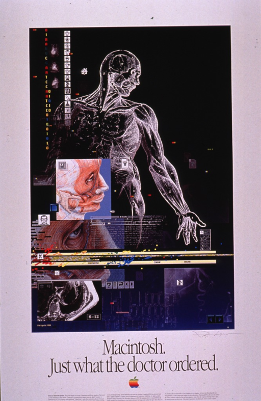 <p>Predominantly white poster with black lettering.  Visual image is a color collage incorporating scanned drawings and x-ray negatives of the musculature of the arm and torso, musculature of the face, the thoracic cavity, computer icons, a computer screen, etc.  Title and artist's signature below collage.  Apple logo, explanation of the role of computers and software in the creative process, and publisher information at bottom of poster.</p>
