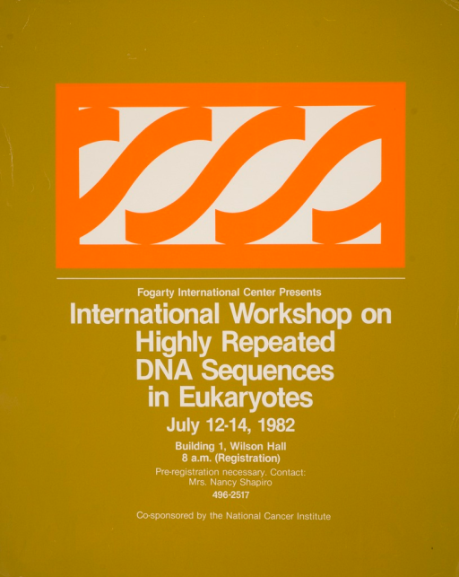 <p>Olive green poster with white lettering announcing workshop, July 1982.  Visual image is a white rectangle outlined in orange, with orange 'S' shaped figures in the center.</p>