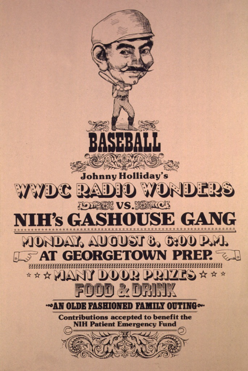 <p>Beige poster with the caricature of a baseball player at the top. The print and caricature are done in black ink.</p>