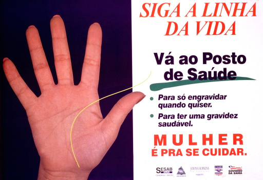 <p>Blue and white poster with multicolor lettering.  Left side of poster features a color photo reproduction showing a hand with its palm facing out.  A yellow line is superimposed on part of the hand and leads to text on right side of poster.  Title at top of right side.  Additional text urges women to go to a health center for family planning and safe pregnancy.  Note near bottom of right side appears to urge women to take care of themselves.  Publisher and sponsor information in lower right corner.</p>
