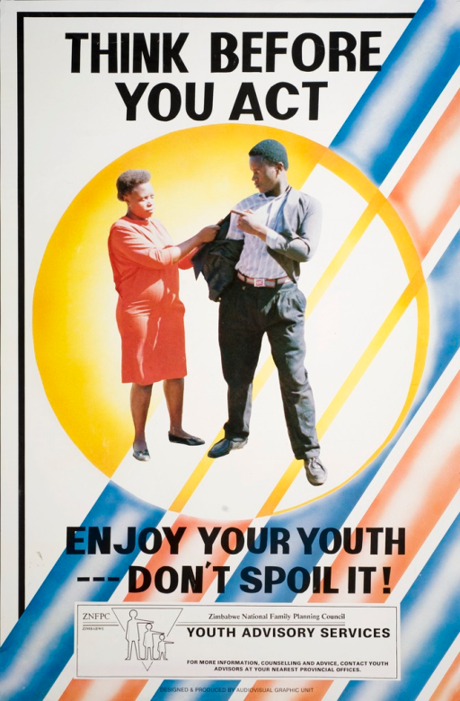 <p>Multicolor poster with black lettering. Visual image in center of poster is a woman attempting to take the jacket off of a young man. The young man is pointing his finger at the woman. Initial title phrase above image.  Remaining title phrase below image. Publisher information at bottom of poster.</p>