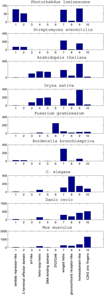 Distribution of transcription factors for the 9 organisms in Table 1 among the different super-families. On the x axis are the 10 super-families of table 1, on the y axis their counts in each organism. The organisms are sorted according to increasing number of genes in the genome.  Note that the y-axis scale is different for different organisms.