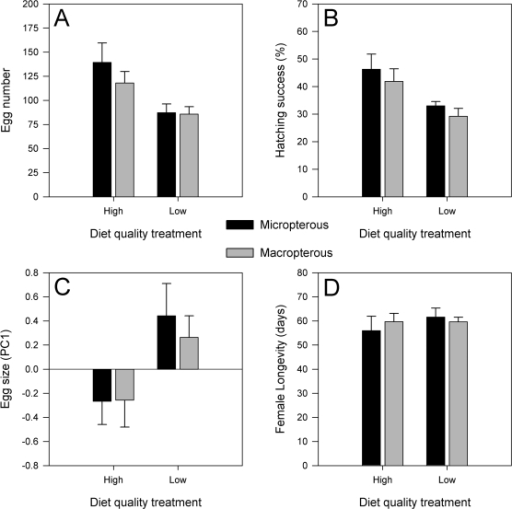 The effect of diet quality treatment and wing morph type on female reproductive investment.The means and standard errors for the diet treatment and wing morph factors are calculated based on the average values for each of the experimental populations.