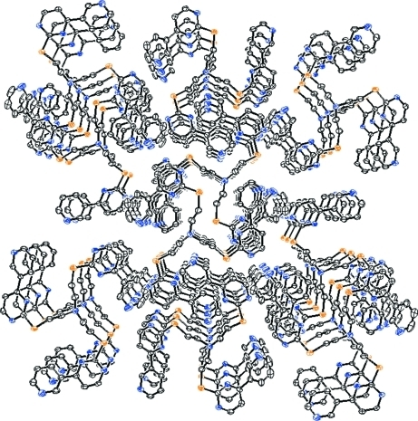A section of the three-dimensional supramolecular network of the title compound viewed down the c-axis.