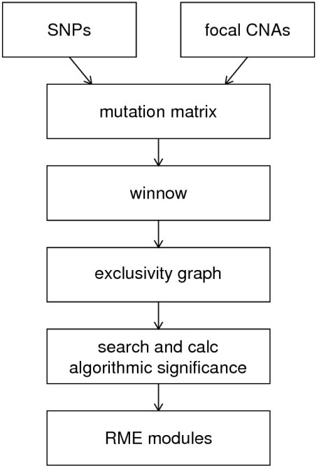 Analysis Pipeline. In a preprocessing step, validated SNPs and focal CNAs are combined into a mutation matrix. This matrix is fed into the winnow algorithm, which scores each gene pair by exclusivity, indicated by edge scores in a graph. This graph is then searched for modules up to a specified size and the algorithmic significance is calculated for each potential module. Finally, the most significant modules are reported.