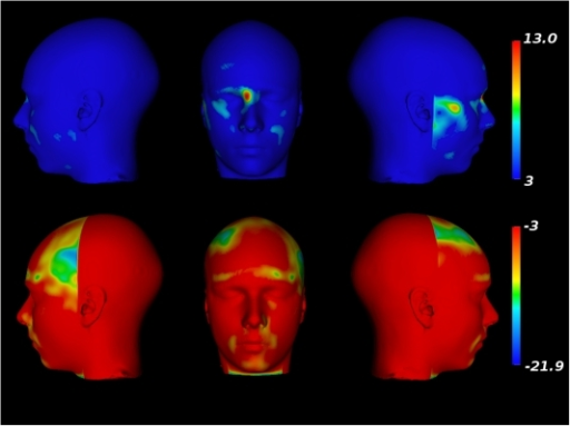 Facial morphometry changes related to age in males.Top row: Facial expansions related to age. Bottom row: Facial                            contractions related to age.