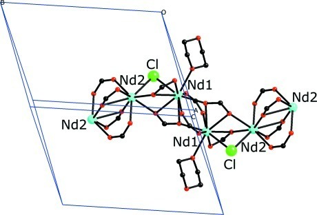Extended structure, with the one-dimensional chain extending along the b-axis. All phenyl rings of the benzoate ligands and all hydrogen atoms have been removed for clarity.