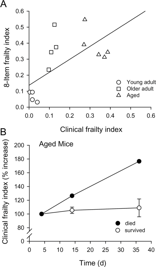 Comparison of the eight-item frailty and clinical frailty indices. (A) The scores for the eight-item frailty index were plotted as a function of the clinical frailty index scores. A regression line fitted through these data has an r2 value of .43 (p = .01). (B) The clinical frailty index was repeated on three separate trials in the oldest group. For 4/5 mice, the relationship showed little change with time (open symbols). However, one mouse that died 2 days after the final trial (filled symbols) showed a marked increase in the clinical frailty index.