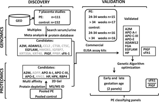 Study outline of the multi-'omics'-based discovery and validation of PE biomarkers. Candidate analytes, which failed subsequent validation, are greyed out. PE, preeclampsia.