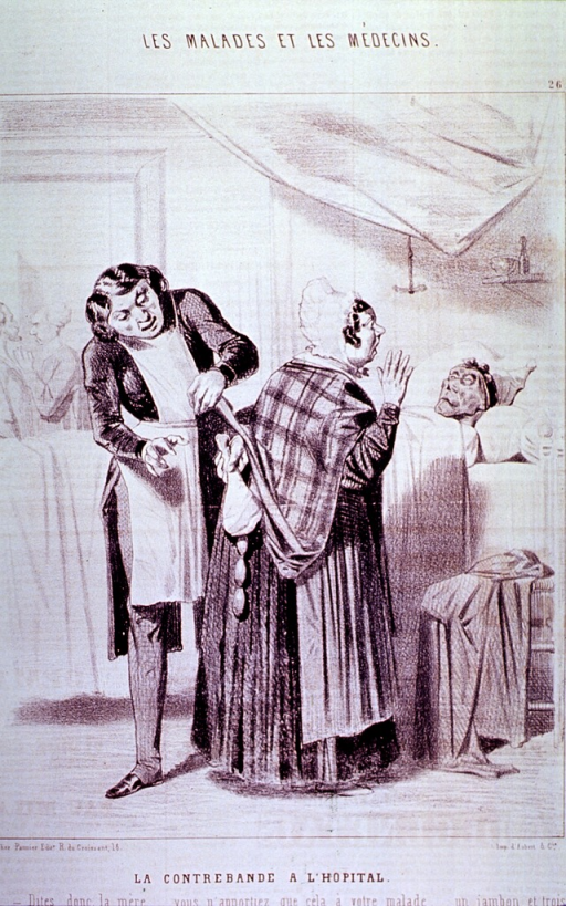 <p>Interior view, hospital ward: a woman visiting her husband (who appears to be near death) is discovered to be concealing under her shawl a ham bone and some sausages; a male nurse indicates that they shall have to be taken away from her.</p>