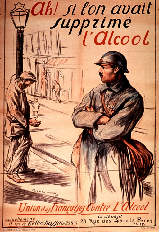 <p>Poster on tan or discolored white paper with multicolor lettering.  Title at top of poster.  Visual image is an illustration of a street scene in which a man in uniform looks at another man who leans on a lamp post.  The man leaning on the post has a beard and a bottle protrudes from his coat pocket.  Publisher information at bottom of poster.</p>