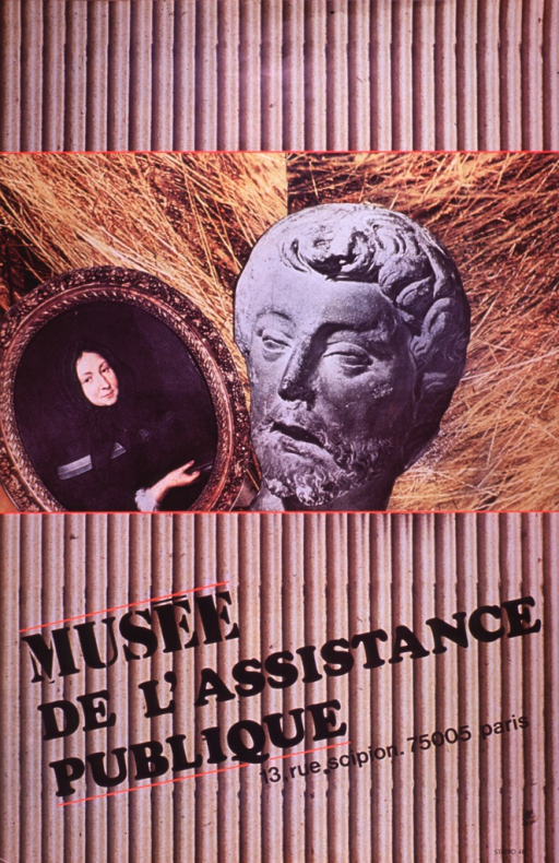 <p>Predominantly brown poster with black lettering.    Background has a ribbed appearance, as if corduroy or corrugated cardboard.  Dominant visual images are photo reproductions of a painting of a woman and a carved head of a man.  Title and museum address below photos.</p>