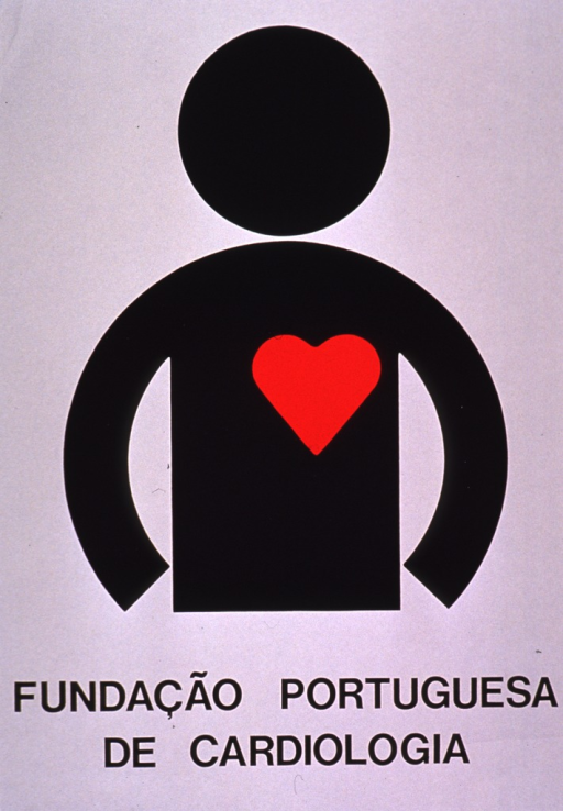 <p>Predominantly white poster with black lettering.  Visual image is a silhouette of a human figure with a red, symbolic heart on its chest.  Title below image.</p>