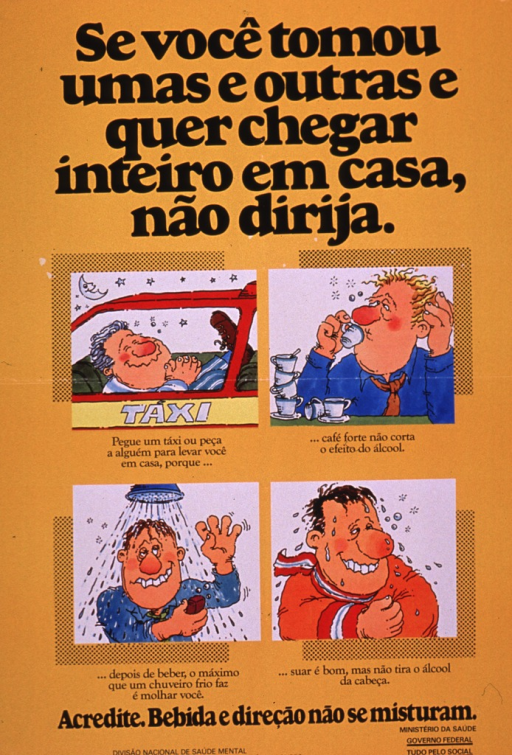 <p>Predominantly gold poster with black lettering.  Title at top of poster.  Visual images are four cartoon-style illustrations depicting a man riding in a taxi, a man drinking coffee, a man taking a shower, and a man dripping wet and still looking a bit drunk.  One phrase of caption accompanies each illustration; caption urges taking a taxi and dispels myths about ways to sober up quickly.  Note below illustrations states that drinking and driving do not mix.  Publisher information at bottom of poster.</p>