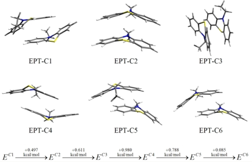Conformational structures and their relative conformational energies for different ethyl-phenothiazine (EPT) dimers obtained at the DF-LMP2/cc-pVTZ level of theory. (See Reference [11]).