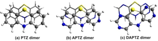 The optimized geometry structure of the azaphenothizaine (APTZ) and diazaphenothiazine (DAPTZ) dimers.