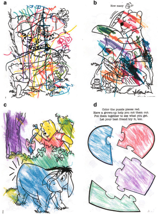 Coloring book pages from 17 year old girl with autism: (a) before beginning HBOT at 1.5 atm/100% oxygen; (b) after one week of HBOT (5 sessions at one hour each), she is beginning to create patches of color to fill in a space; (c) after 3 weeks of HBOT (about 15 hours of HBOT), she uses correct colors for Winnie the Pooh and Eyore, and the foliage except for the tree trunk; and (d) after 5 weeks of HBOT (20 hours of HBOT), she begins to respect borders and boundaries and even outlines the inner border with color. After 6 months, her coloring abilities remained stable. Pictures courtesy of Carol L. Henricks, MD. Credit: Permission for use of drawings granted by the Journal of American Physicians and Surgeons.
