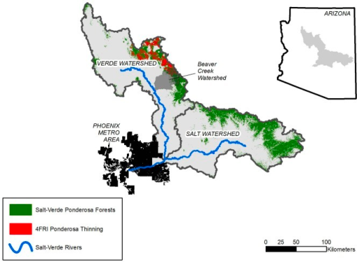 Map of Study Area.Map showing ponderosa pine forests in Salt-Verde watersheds in central Arizona, including those forests that are slated for mechanical thinning within the 4FRI project. Runoff from snowmelt in these forests is primary source of flow to Salt-Verde rivers which in turn are major sources of water for communities in the Phoenix Metro Area. Study used runoff model developed from experimental studies conducted in Beaver Creek watershed [20]. Inset: Location of study area in Arizona.