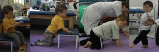 Post-intervention results: (A) While sitting on the low stool, the patientmaintained trunk control performing unior bimanual object handling; (B) Patientcan transfer from the sitting to the kneeling position using a low stool support;(C) Patient remains on all fours and performs decoupling of limbs; (D) In thestanding position, patient walks with the therapist's support