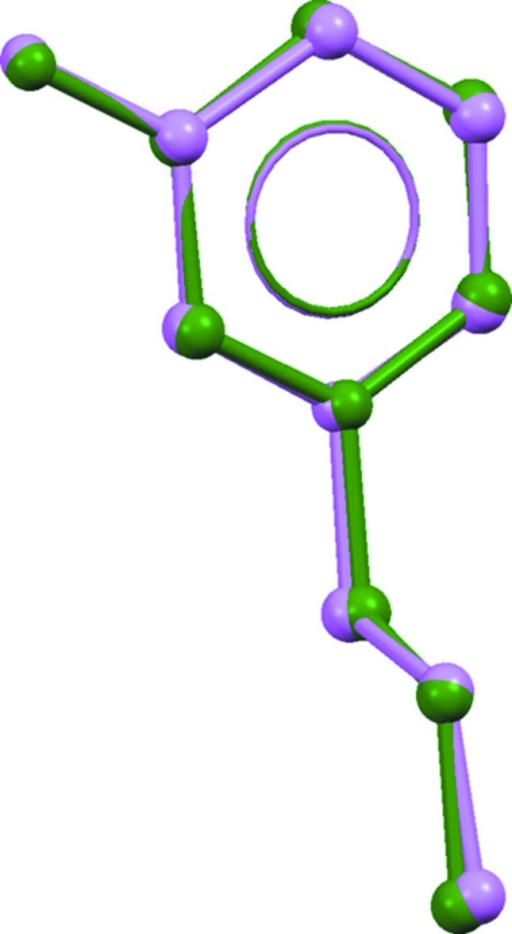 Structural superimposition of the non-H atoms of the pyridinium cations (green: cation A; violet: cation B).