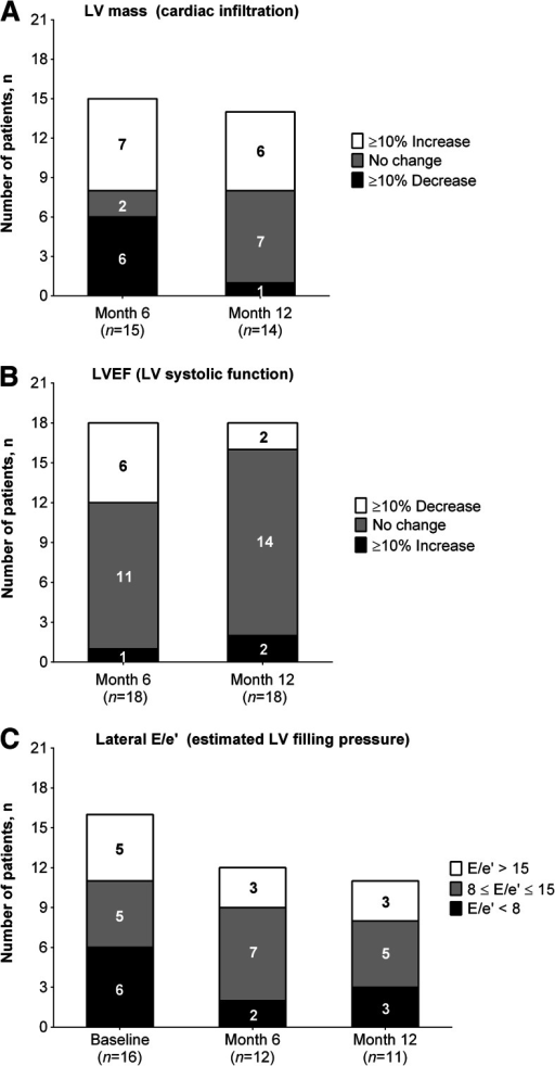 Changes in cardiac amyloid infiltration, systolic function, and LV filling pressure from baseline within individual patients. a LV mass, as a measure of cardiac amyloid infiltration, was maintained or improved (<10 % increase) in 8/14 (57.1 %) from baseline to month 12. b LVEF as a measure of systolic function was maintained or improved (<10 % decrease) in 16/18 (88.9 %) from baseline to month 12. c Lateral E/e′ as an estimate of LV filling pressure was normal (E/e′ <8), undetermined (8 ≤ E/e′ ≤ 15), or elevated (E/e′ > 15) in 6/16 (37.5 %), 5/16 (31.3 %), and 5/16 (31.3 %) at baseline and in 3/11 (27.3 %), 5/11 (45.5 %), and 3/11 (27.3 %) at month 12, respectively. LV left ventricular, LVEF LV ejection fraction, E/e′ ratio of peak mitral inflow velocity of early filling to early diastolic mitral annular velocity