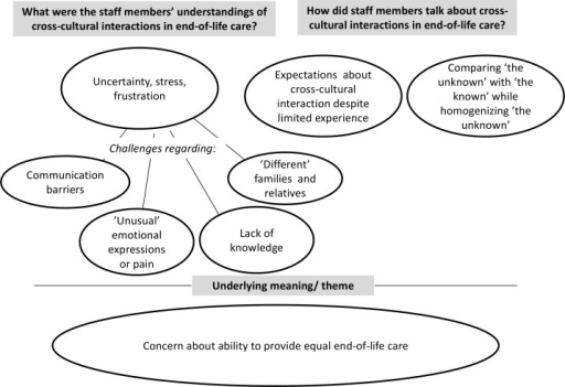 Overview of the findings regarding health care professionals' understandings of cross-cultural interaction in end-of-life care,