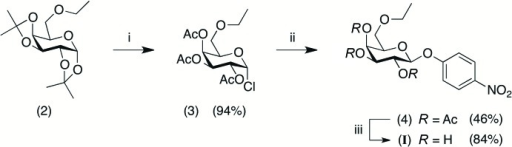 Synthesis of the title compound (I): (i) AcCl, MeOH, HCl(aq), room temperature, closed system; (ii) 4-nitro­phenol, LiOH·H2O, acetone/H2O, room temperature; (iii) MeONa/MeOH, CH2Cl2, 273 K. The water mol­ecule of crystallization of (I) is not represented.