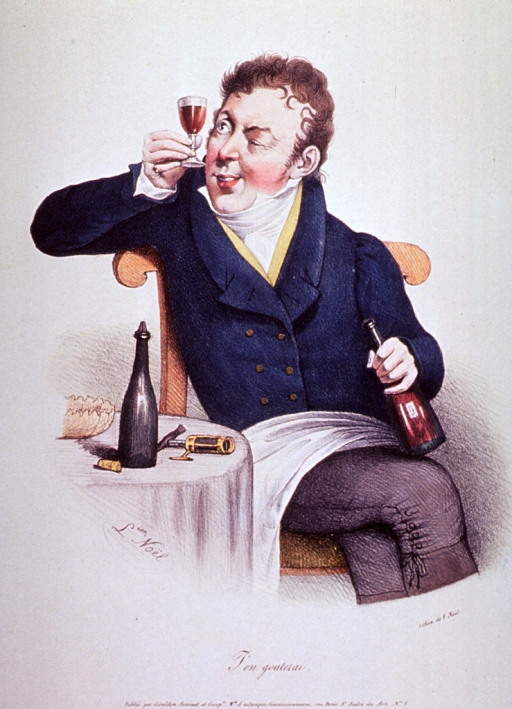 <p>A man, sitting at a small table, is holding up a glass of wine as if to examine its clarity.  He holds a bottle in his left hand; on the table stands another bottle and a corkscrew.</p>
