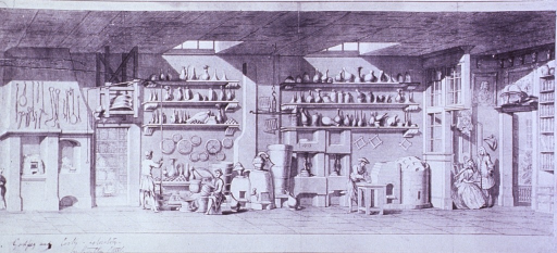 <p>Interior view: large room with various types of containers on shelves, several furnaces, presses, drug compounding equipment, and book shelves.</p>