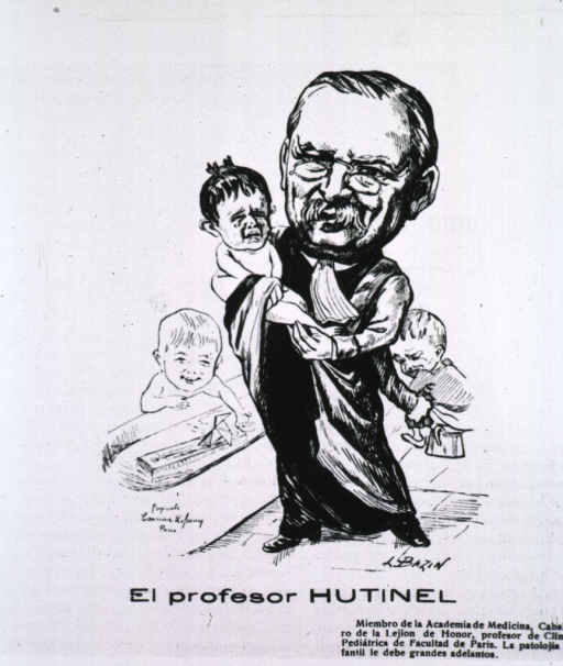 <p>Caricature from La Tribuna Medica, Chile.  French text.</p>