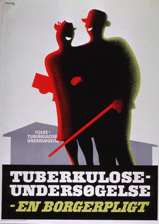 <p>Predominantly white poster with white and green lettering.  Visual image at top of poster features the silhouette of a smiling male-female couple.  A building in the background is labeled &quot;Folke-tuberkulose unders&copy;ıgelse.&quot;  Title below illustration.  Printer information at bottom of poster.</p>