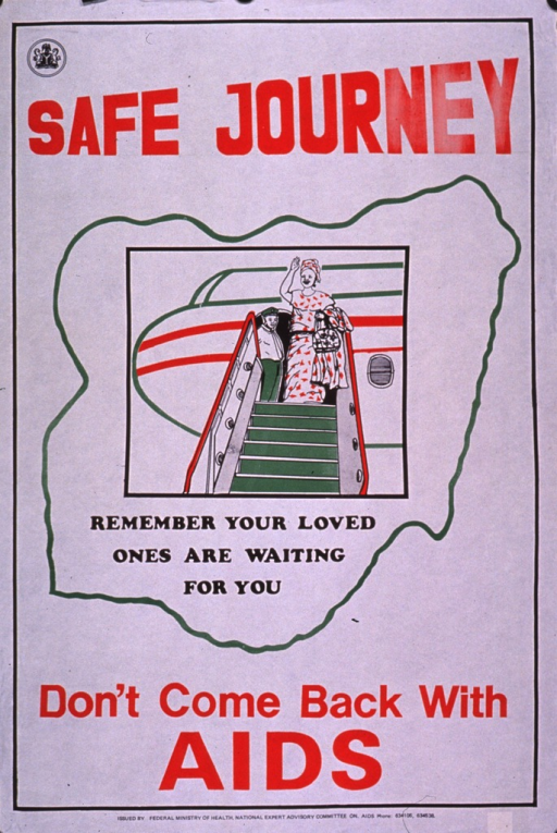 <p>Predominantly white poster with red and black lettering.  Title at top of poster.  Visual image is an illustration of a woman standing at the top of the stairs leading into an airplane.  Caption below illustration.  Note and publisher information at bottom of poster.</p>
