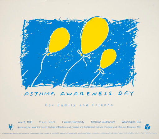<p>Yellow balloons on strings are against a blue background.</p>