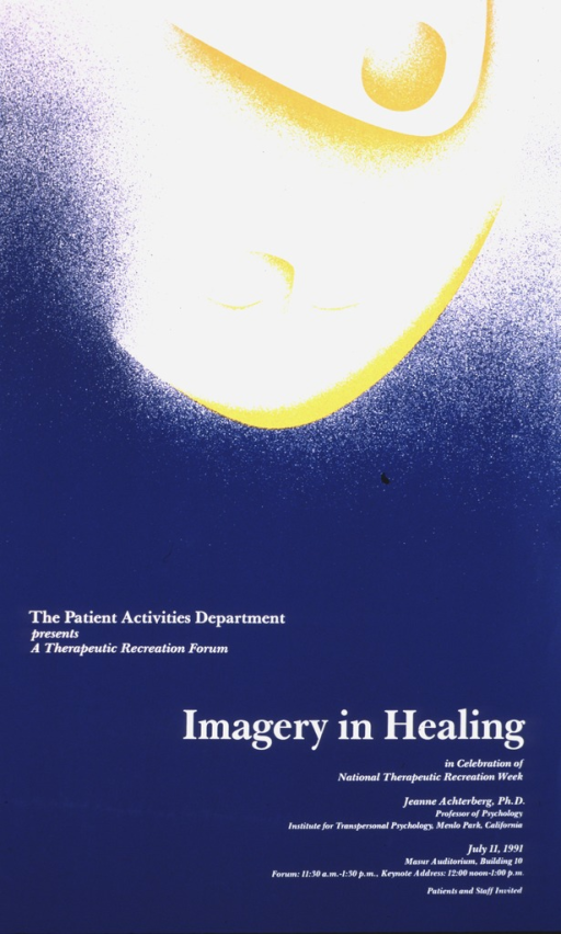 <p>Blue poster with the top half in white and yellow showing celestial phenomena. The date (July 11, 1991), time, and location of the lecture are given in the lower right hand section of the poster, along with the speaker's position as Professor of Psychology at the Institute for Transpersonal Psychology in Menlo Park, California.</p>