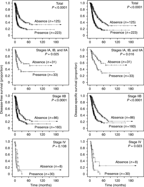 Kaplan–Meier survival curves showing a comparison of disease-free survival between cases in which histological necrosis was present and absent (P-values obtained by log-rank test) (left columns). Kaplan–Meier survival curves showing a comparison of disease-specific survival between cases, in which histological necrosis was present and absent (P-values obtained by log-rank test) (right columns).
