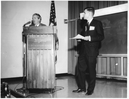 Argonne National Laboratory, 1968. Ole Maaløe facilitating discussion after a presentation by Charles Helmstetter at a Division of Biological and Medical Sciences symposium.
