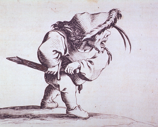 <p>Grotesque figure of a man wearing a sword.</p>
