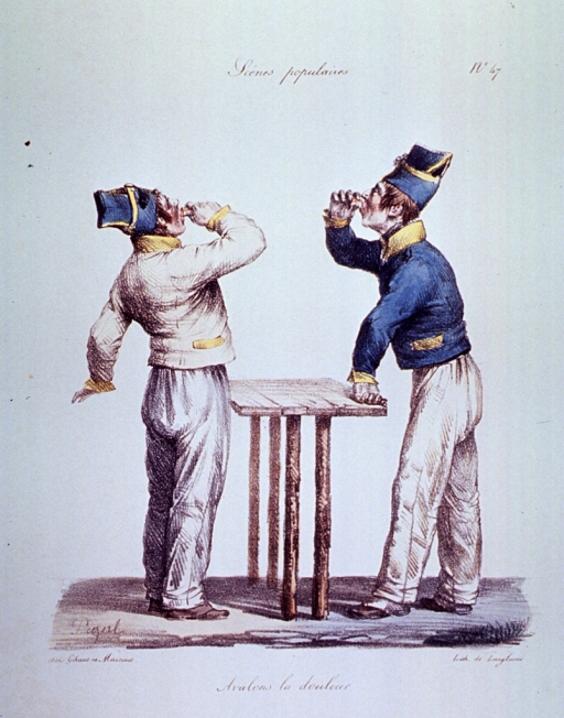 <p>Caricature:  Two men are standing at a small table drowning their sufferings with alcohol.</p>