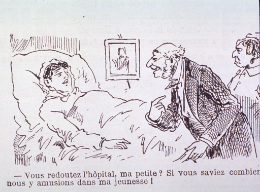<p>Caricature:  Interior view of a room; a patient is lying in bed and the physician and another woman stand at the foot of the bed.</p>