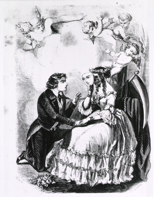<p>A young man on one knee holds the hand of Death who is hiding behind a mask of the face of a pretty young woman; cherubim cavort overhead.</p>