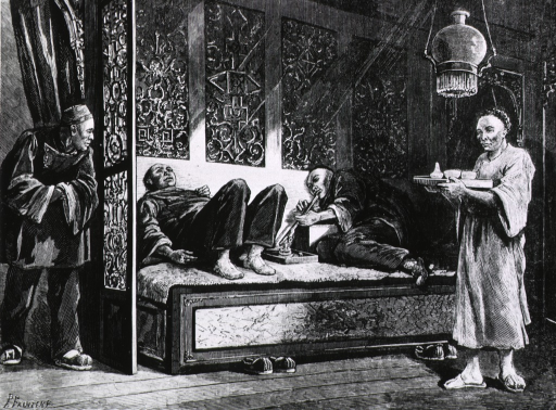 <p>Scene in a Chinese opium palace, San Francisco Interior, two men smoking.</p>