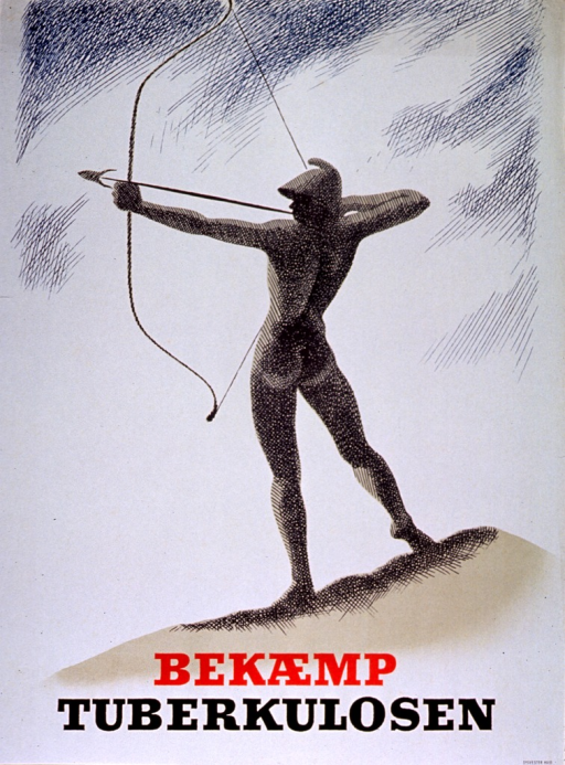 <p>Predominantly white poster with red and black lettering.   Visual image is an illustration of an archer standing in profile with his bow drawn.  Title below illustration.  Publisher information in lower right corner.</p>