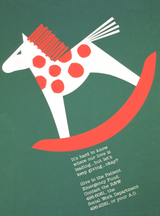 <p>Green poster with a red and white rocking horse occupying most of the space.  Although no date is given, it appears to be related to the Christmas holidays.</p>