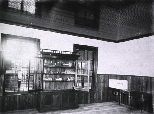 <p>Laboratory interior, showing new case of cultures, tubes, sink, etc.</p>