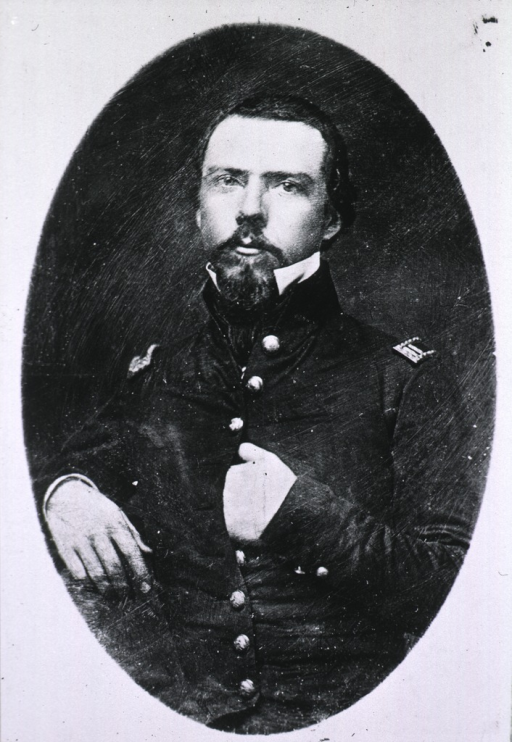 <p>Half-length, full face, left hand in coat, uniform, Captain, Civil War period.</p>