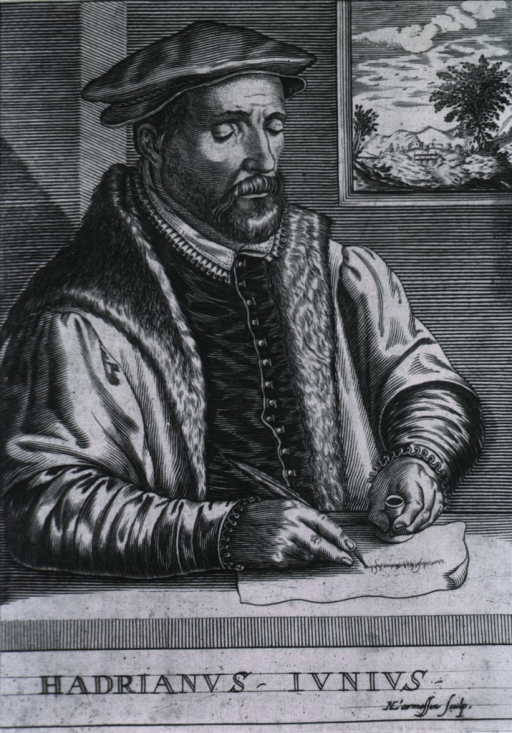 <p>Half-length, right pose; wearing robe trimmed with fur; holding quill pen in right hand, writing; window in background.</p>